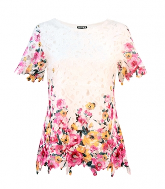 Lace T-Shirt with Printed Rose Design and Scallop