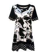 Scoop Neck T-Shirt with Abstract and Spot Print