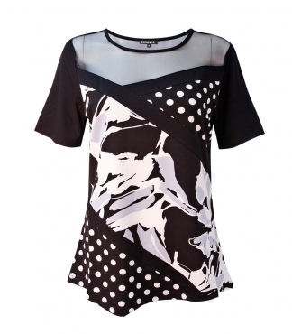 Abstract Print V Hem T-Shirt with Mesh
