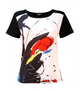 Scoop Neck Splash Print T-Shirt