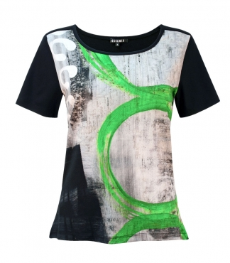 Scoop Neck Circle Print T-Shirt