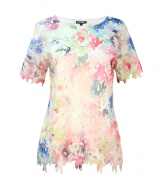Multicolour Lace T-Shirt with Scallop