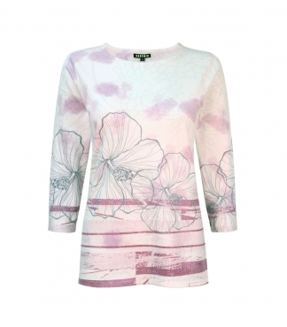 Flower and Stripes Design Jumper