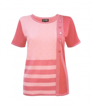 Short Sleeves Jumper with Diamond Cable Design