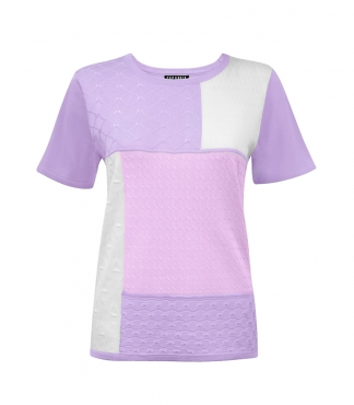 Short Sleeves Jumper with Fancy Knit Patchwork
