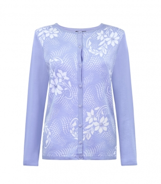 Floral and Swirl Design Button Through Cardigan
