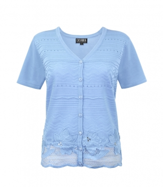 Short Sleeves Button Cardigan with Lace Hem