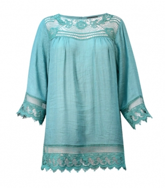 Crew Neck Blouse with Lace Yoke Top