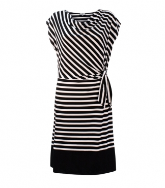 Cap Sleeve Dress with Drape Neck