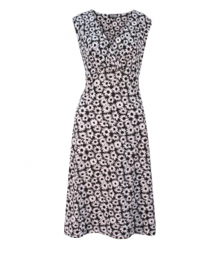 Sleeveless Wrap Style Daisy Print Dress