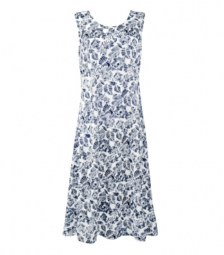 Flower and Leaf Print Sleeveless Cotton Dress