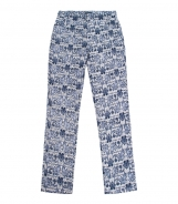Straight Trousers - Blue and White Pattern