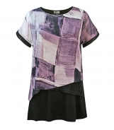 Chiffon Layered T-Shirt with Abstract Block Print