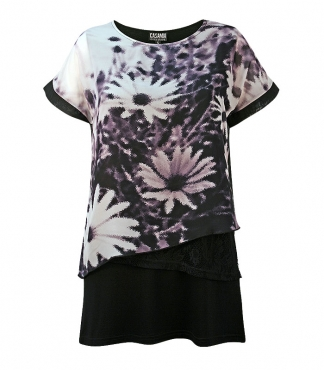 Chiffon Layered T-Shirt with Floral Print