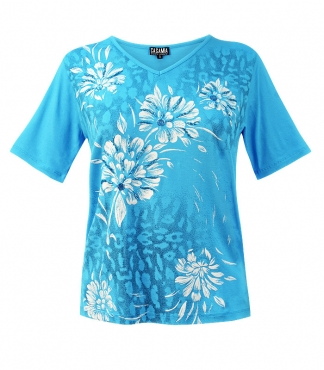 V-Neck T-Shirt with Flower and Leopard Print