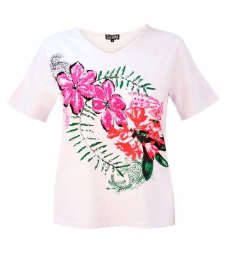 V-Neck T-Shirt with Flowers and Paisley Print