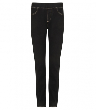 Denim Straight Fit Jegging Trouser (Black)
