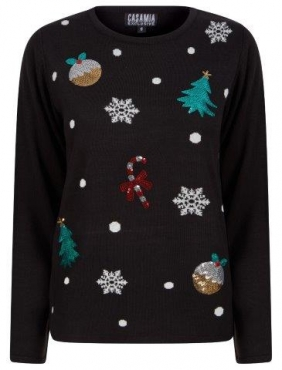 Christmas Jumper with Puddings and Trees