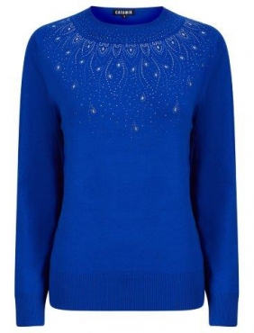 Jumper with Diamante design at neck