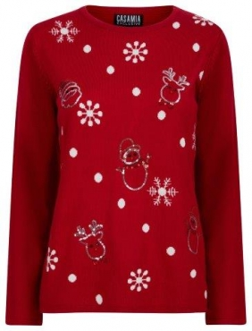 Christmas Jumper with Snowmen and Snowflakes
