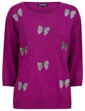 Crew Neck Jumper with Embroidered Bows *Plus sizes available*
