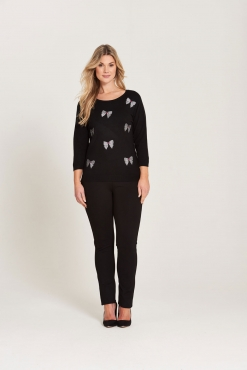 Crew Neck Jumper with Embroidered Bows