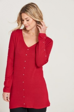 V-Neck Tunic Top with Diamante Detail