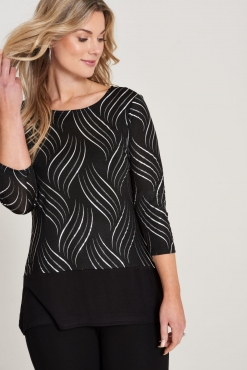 Evening Top with Metallic Print