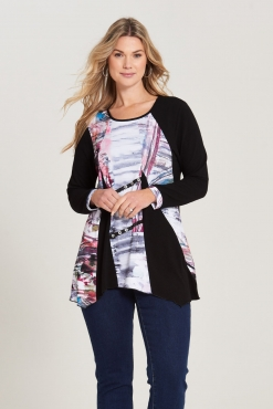 Tunic Top with Multi-Print Panel