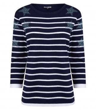 Crew Neck Striped Jumper with Star Detail