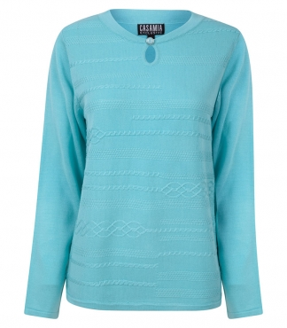 Crew Neck Long Sleeved Jumper with Key Hole