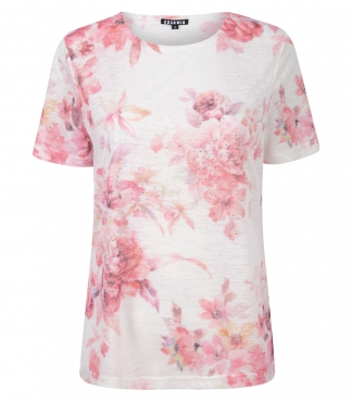 Crew Neck T-Shirt with Rose Print
